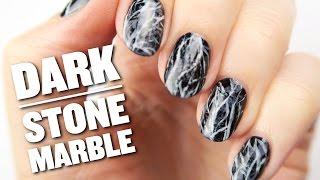 Dark Stone Marble Nail Art Design
