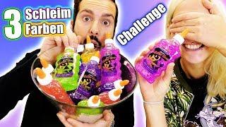 3 COLORS OF GLUE SLIME Challenge - Kaan vs Nina: Glitter Kleber Schleim selber machen Zuhause DIY
