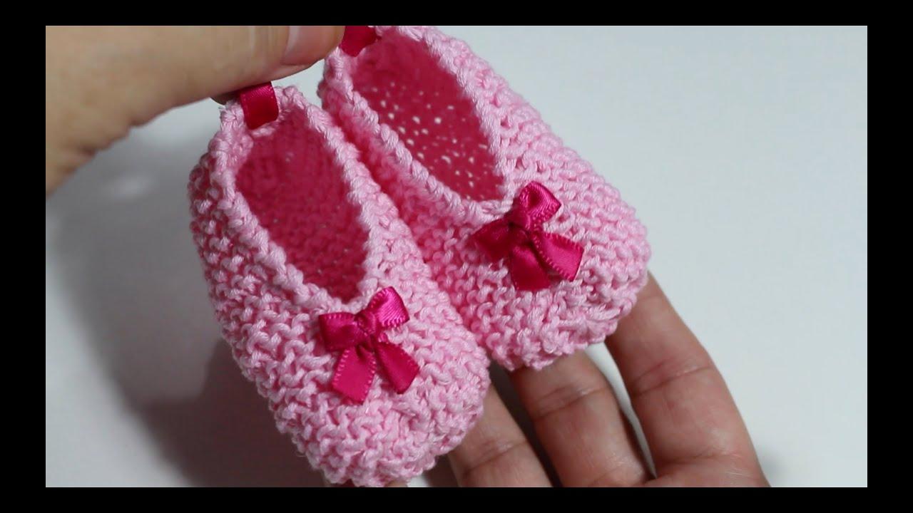 DIY ! Tejer patucos de bebé con dos agujas I Baby Booties I ...