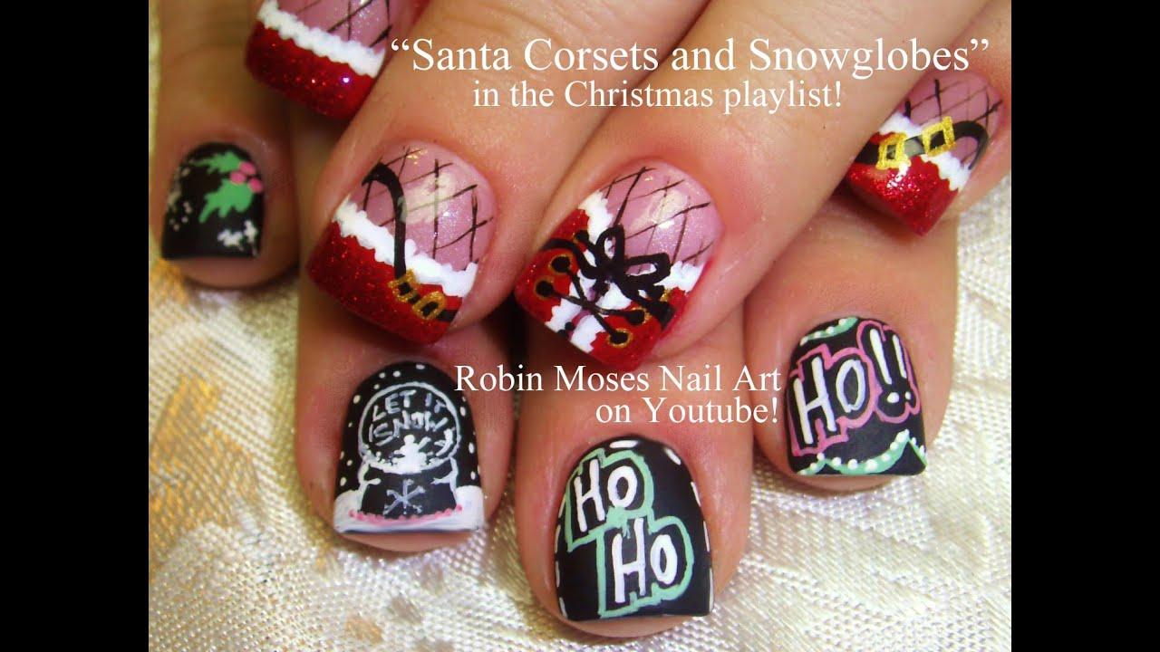 2 Nail Art Tutorials Christmas Nails Sexy Corset And Snow