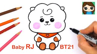How to Draw BT21 BABY RJ | BTS Jin Persona