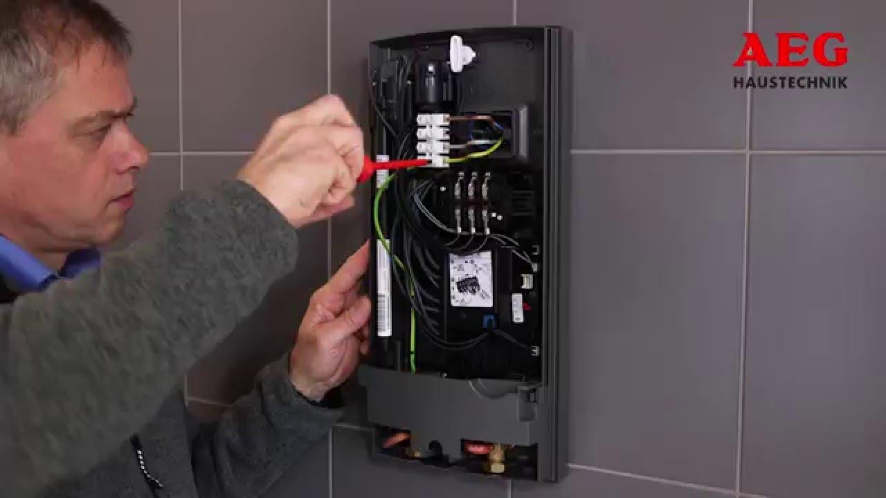 Elektronische Durchlauferhitzer Von Aeg Installationsvideo Youtube