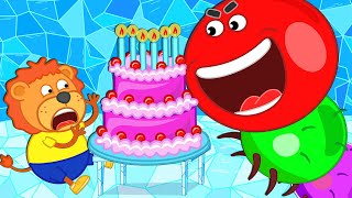 Lion Family 🐛 Story about Worm Slither.io on Birthday Party. Xylophone   Cartoon for Kids