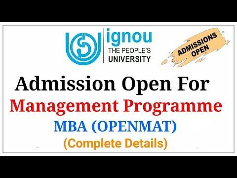 IGNOU Admission Open For Management Programme | IGNOU MBA 2018 |