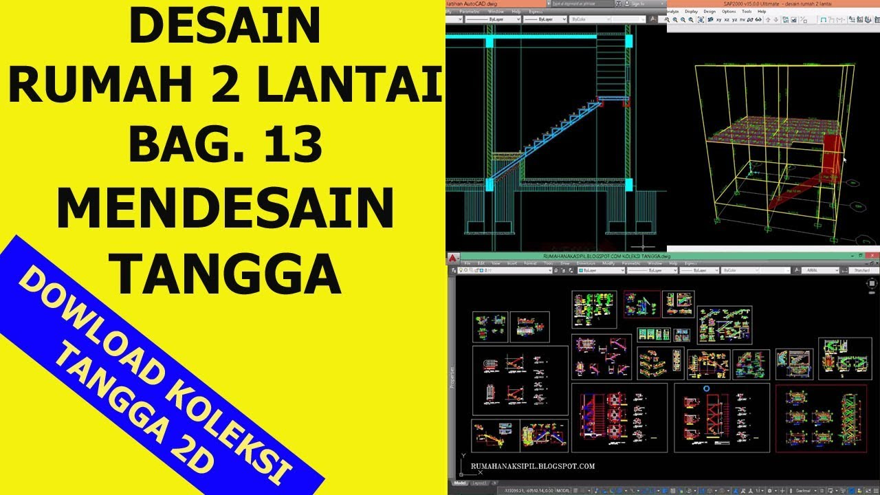 Desain Rumah 2 Lantai Bagian 13 Desain Tangga 2d Autocad Download Koleksinya Youtube