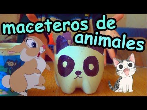 Maceteros de animales con botellas reciclaje youtube - Maceteros de plastico ...