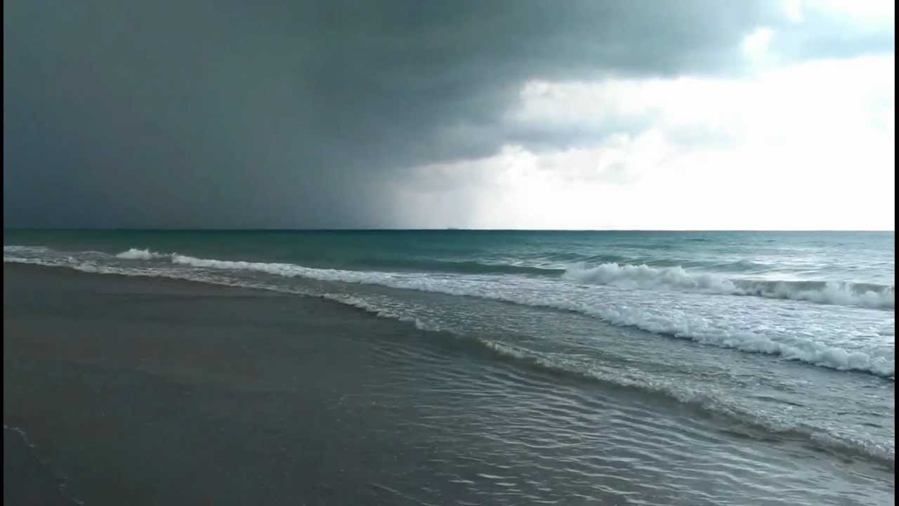 Tropical Island Beach Ambience Sound: Miami Beach Relaxing Ocean Sounds Waves Before The Rain