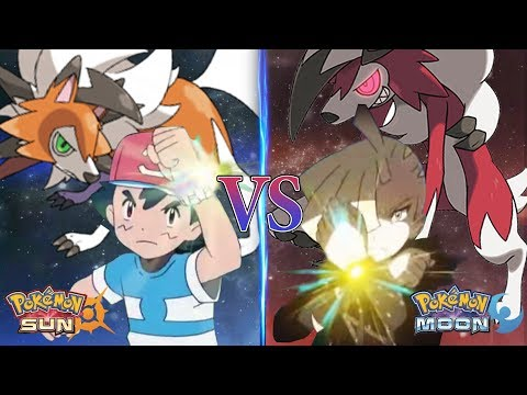 Pokemon Sun and Moon Alola Ash Vs Gladion (Lycanroc Vs Lycanroc)