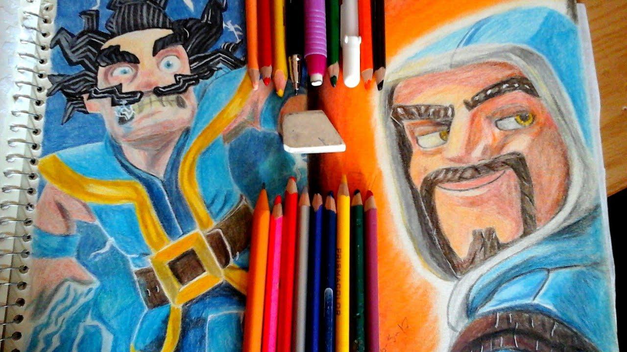Dibujando Al Mago De Fuego Y Eléctrico Clash Royale