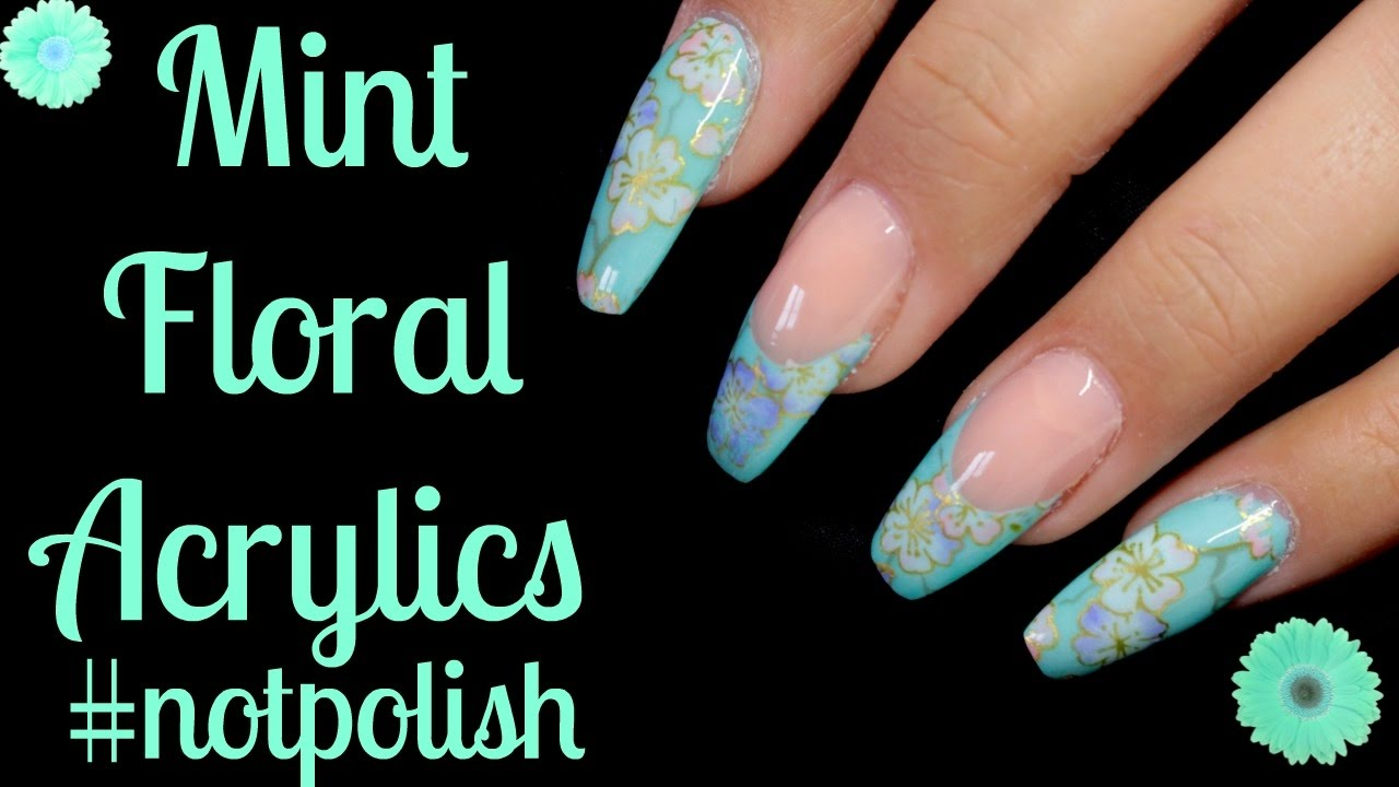 Mint Acrylic Fl Nails Glam Glits Notpolish
