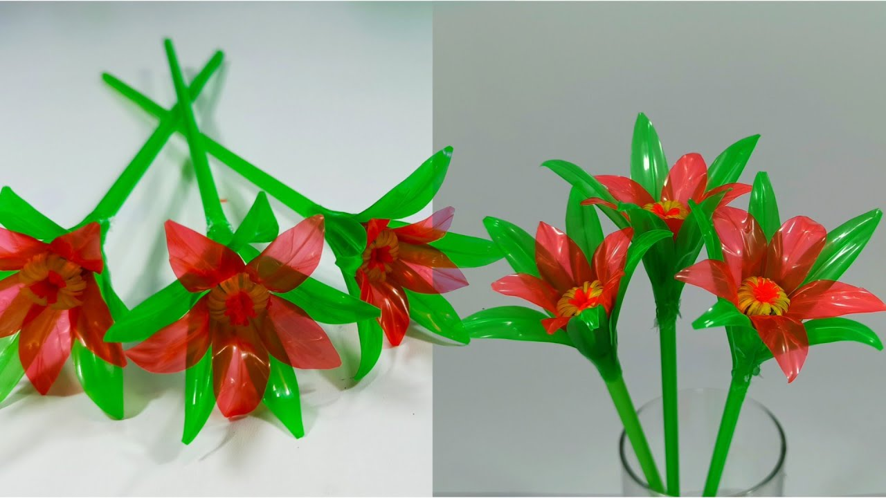 Bunga Dari Sedotan Plastik Yang Simpel Youtube