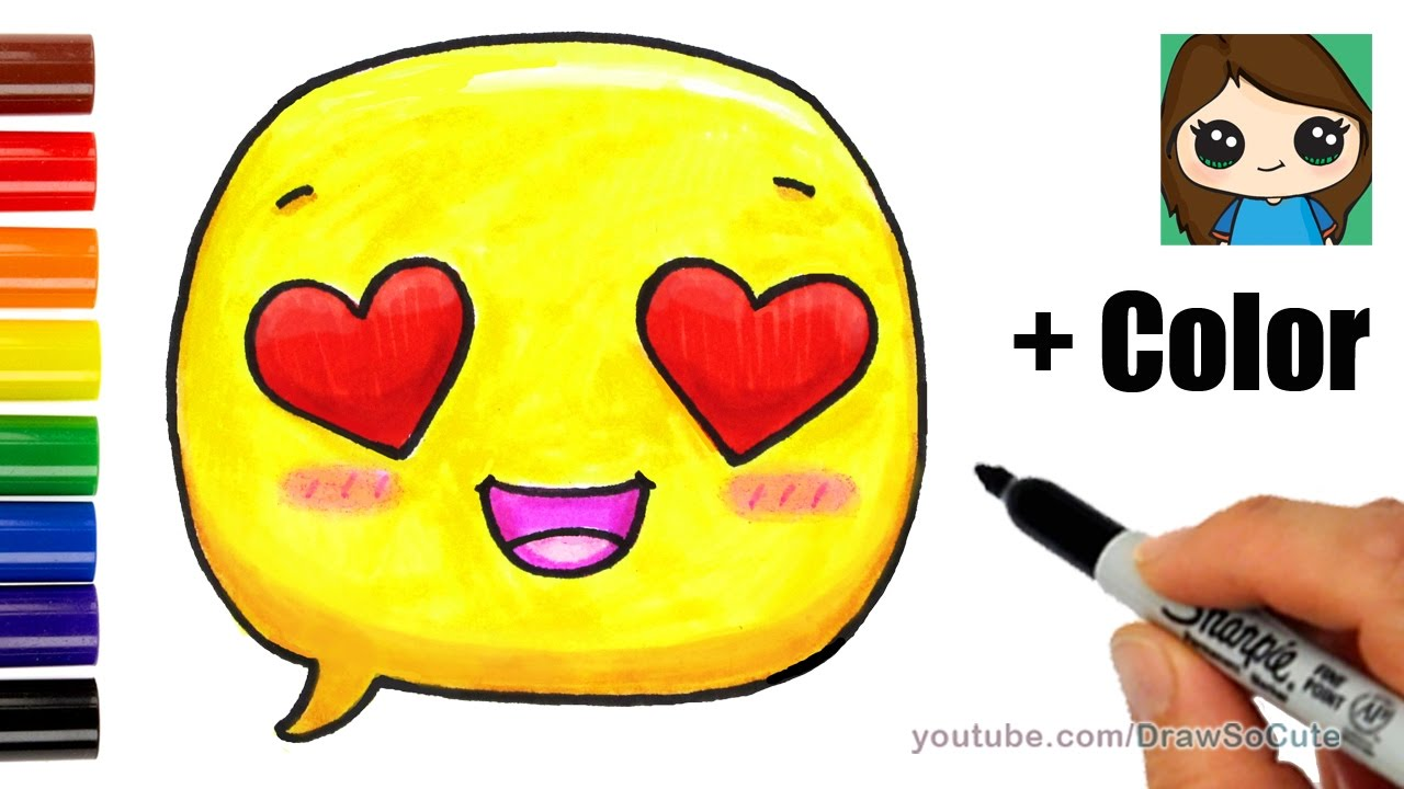 how to draw a love emoji easy with coloring youtube
