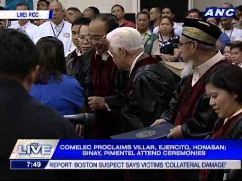 Villar, Ejercito, Honasan proclaimed; Binay, Pimentel attend