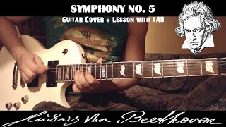 Symphony No 5 (Beethoven) Rock Metal GUITAR LESSON with TAB