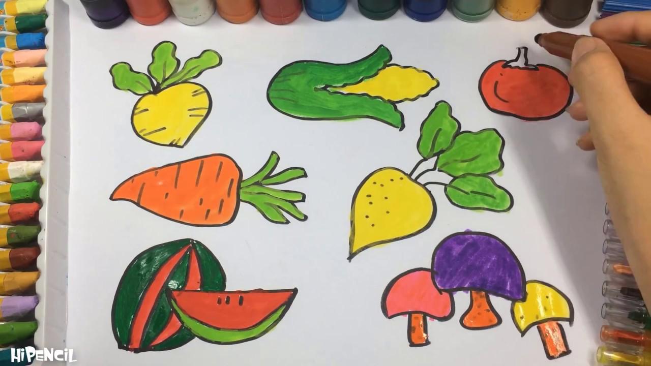 Como Dibujar Verduras Y Frutas Ensenar A Los Ninos Los Colores