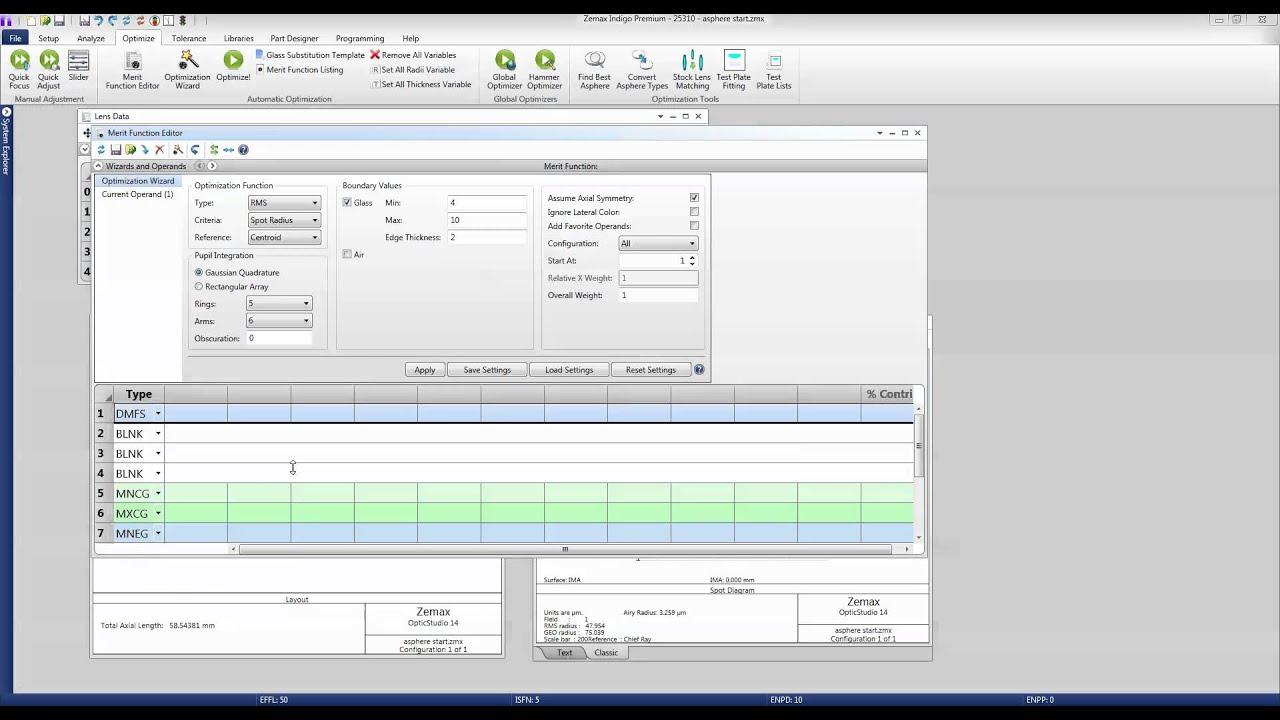 Optimization of Optical System Designs using OpticStudio
