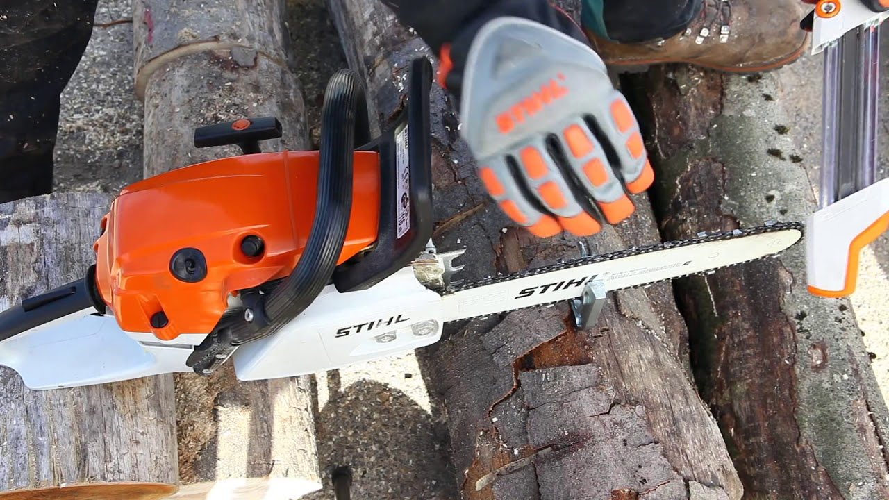 sharpening saw chains with the stihl 2 in 1 file holder - youtube