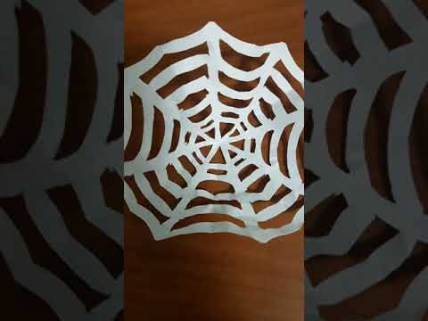 How to make a spiderweb out of paper Easy paper spider DIY Decor Halloween