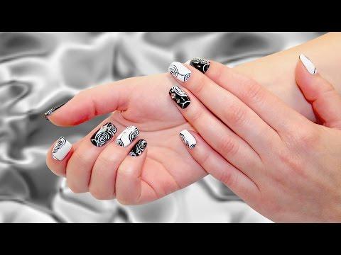 дизайн ногтей видео черным и белым лаком