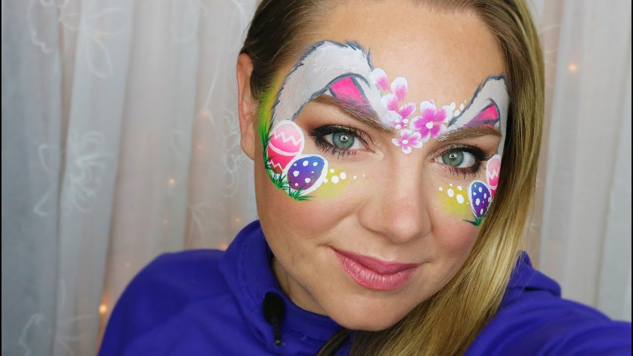 Easter Bunny and Eggs Face Painting Tutorial - YouTube