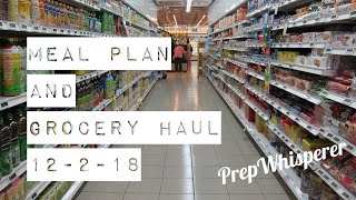 WW Meal Plan and small Grocery Haul week December 2nd, 2018