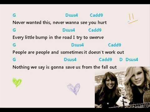 Taylor Swift Ft Colbie Caillat Breathe Lyrics With Chords For