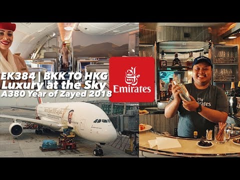 EMIRATES A380 Year of Zayed 2018 | Business Class & Onboard Lounge | EK384 BKK-HKG