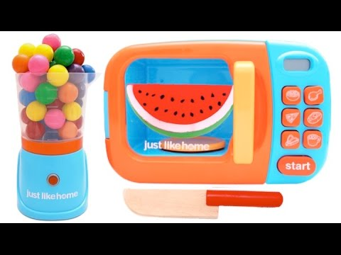 Thumbnail: Cutting Fruit Play Food Pretend Playset For Children Learn Colors with Microwave
