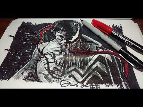 DRAWING VENOM 2019 [TOM HARDY]: [FREE HAND] Pen Drawing FAN ART TIME-LAPSE!