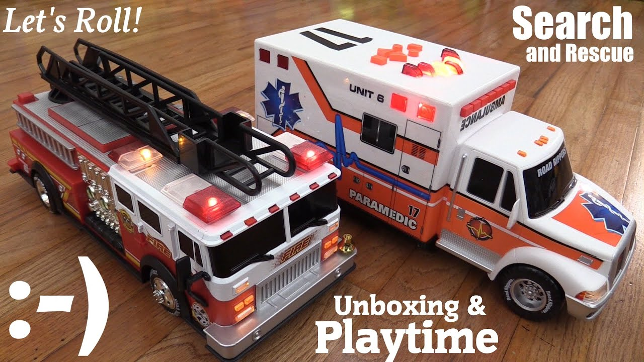 Battery Operated Toy Cars Road Rippers Fire Truck And Ambulance Vehicle Unboxing