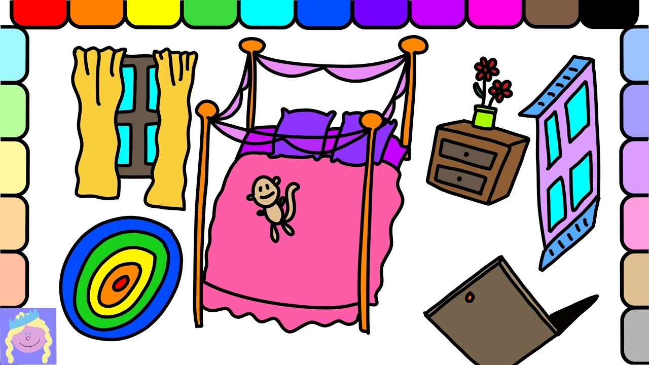 Bedroom drawing for kids - Learn How To Draw Barbie S Bedroom Easy Drawing And Coloring For Kids Fun Learning Video