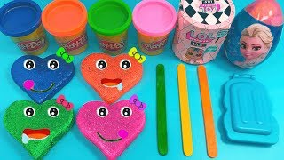 Making 3 Glitter Ice Cream out of Play Doh Heart Learn Colors LOL Surprise Cup Head Disney Frozen