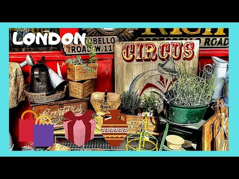 LONDON, the PORTOBELLO ROAD MARKET, the 'ANTIQUES' and STREET PERFORMERS