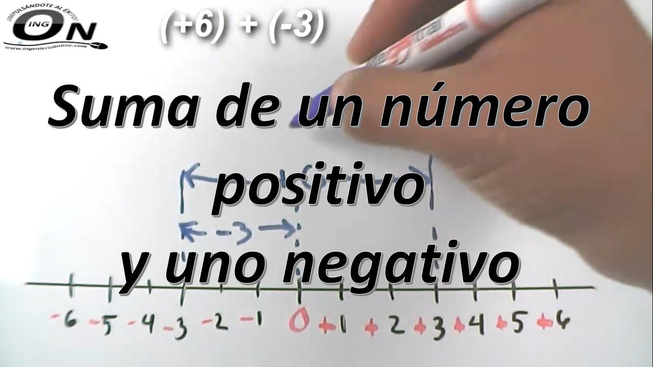Suma De Un Numero Positivo Y Uno Negativo