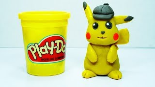 How to Play doh pikachu detective Stop motion l Play doh Pokemon animation