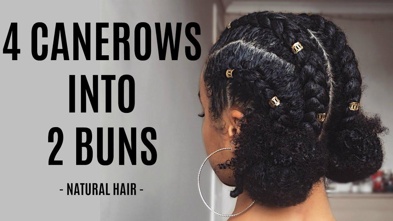 cornrows double buns tutorial
