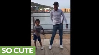 Little boy shows off awesome dance moves