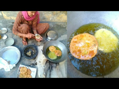 Kachori recipe punjabi food || Aloo(Aatta) Kachori || punjab village food