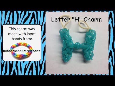 bands that start with the letter h rainbow loom letter h loom band charm made using 31931