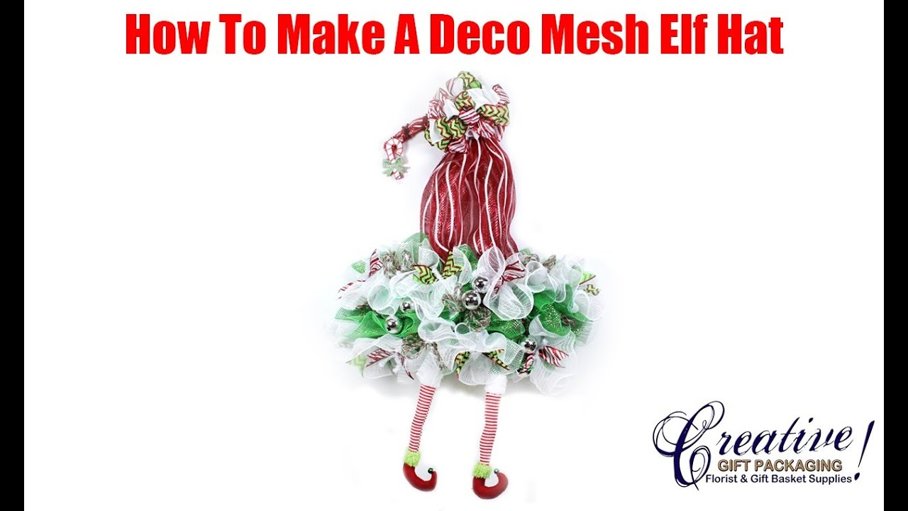 4c422f1045ed1 How To Make A Deco Mesh Christmas Elf Hat Wreath - YouTube
