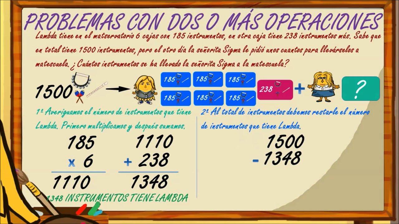 www.matecitos.com: 4º Primaria: Problemas de dos o más operaciones ...