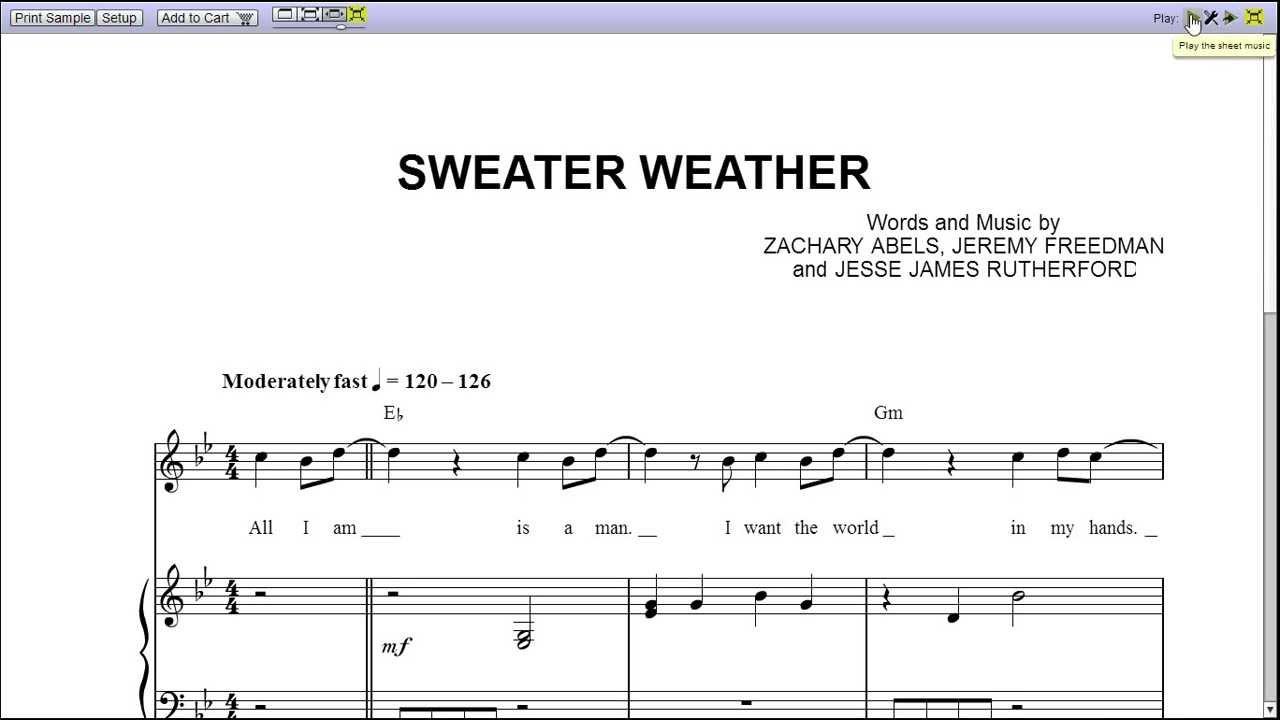 sweater weather sheet music