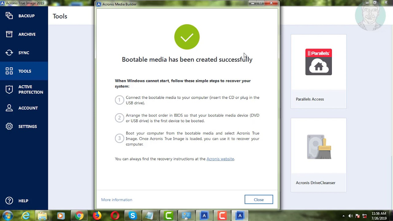 How To Create Bootable Usb On Acronis True Image 2019 Tutorial
