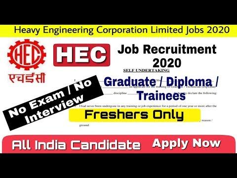 HECL Recruitment 2020 I Graduate & Technician Trainees Post I No Exam / No Interview