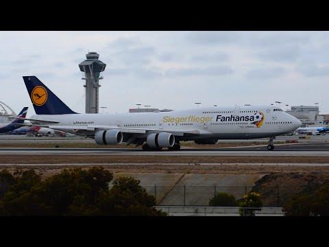 """Lufthansa """"Siegerflieger Fanhansa"""" Boeing 747-8 [D-ABYI] Landing at LAX!!"""