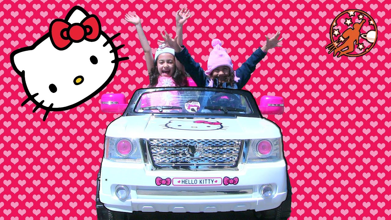 ride on hello kitty toy car for kids unboxing hello kitty pink bow power wheels youtube