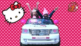 Ride On Hello Kitty Toy Car for Kids Unboxing!! Hello Kitty Pink Bow Power Wheels!! 헬로 키티.ハローキティ