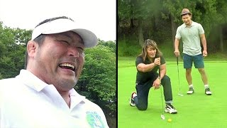 棚橋選手、KUSHIDA選手、中西学でゴルフ対決の後半戦!! ゲームよりも...