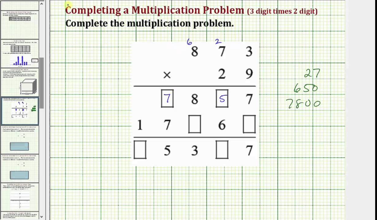 Multiply a 3 Digit Number by a 2 Digit Number (Common Core 5/6 Math ...