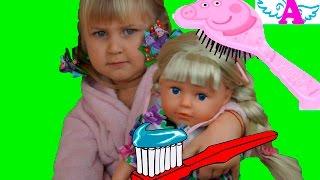 Старшая Сестра Беби Борн чистим зубы расчесываемся Big Sister Baby Born combing brush our teeth